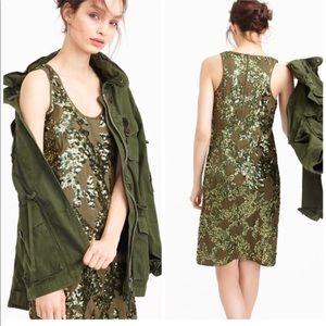 J. Crew green sequin shift dress